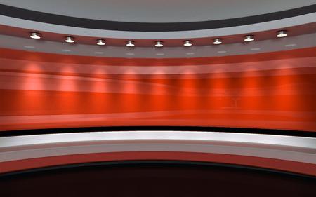 Studio Red. toile de fond rouge. rendu 3d Banque d'images