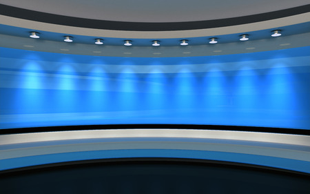 Blue Studio. Blue wall with light. Blue background. Blue back drop. 3d rendering