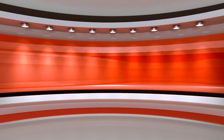 Red Studio. Red backdrop. 3d rendering