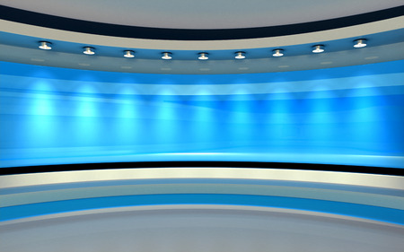 Blue Studio. Blue back drop. 3d rendering 免版税图像