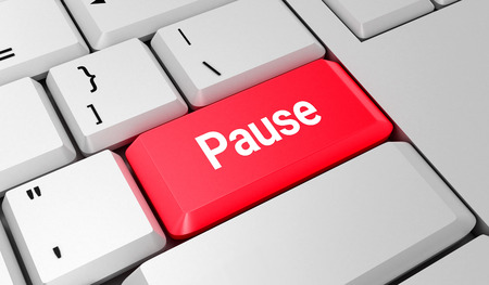 Pause button. Keyboard. Red key. Red button. 3D rendering