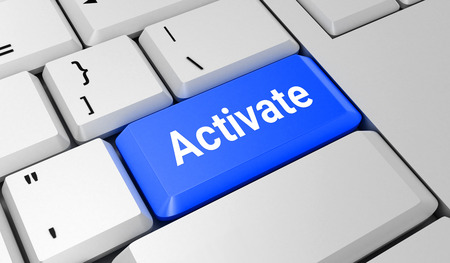 activate: Activate button. Keyboard. Blue key. Blue button. 3D rendering Stock Photo