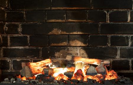 sooty: Fireplace, Bricks wall.  Fireplace background. Sooty bricks