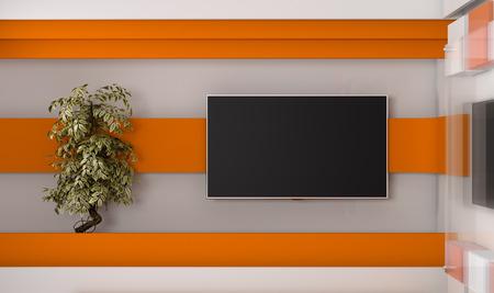 TV 스튜디오. TV에 대 한 배경 .TV 벽에. 뉴스 스튜디오. 녹색 화면 또는 크로마 키 비디오 또는 사진 제작을위한 완벽한 배경. 3d 렌더링입니다.