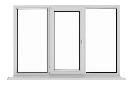 Window. Isolated window. Aluminum window. White window. Pvc window. 3d. 3D render. Stock Photo