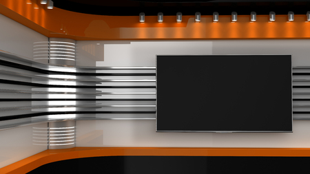 Tv Studio. Orange studio. Backdrop for TV shows .TV on wall. News studio. The perfect backdrop for any green screen or chroma key video or photo production. 3D rendering.