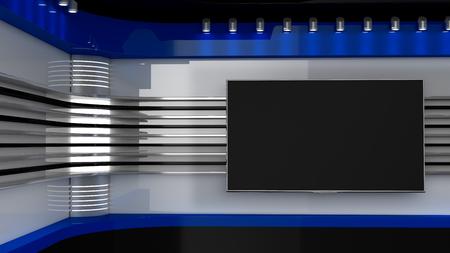 Estúdio de TV. Contexto para programas de tevê .TV na parede. Estúdio de notícias. O pano de fundo perfeito para qualquer tela verde ou vídeo chroma key ou produção de fotos. Renderização 3D.