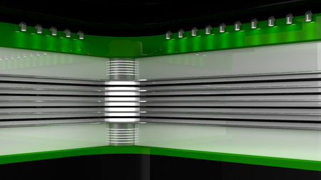 Tv Studio. Green studio. Backdrop for TV shows .TV on wall. News studio. The perfect backdrop for any green screen or chroma key video or photo production. 3D rendering.