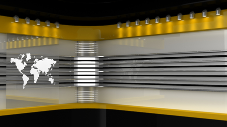 Tv Studio. Yellow studio. Backdrop for TV shows .TV on wall. News studio. The perfect backdrop for any green screen or chroma key video or photo production. 3D rendering.