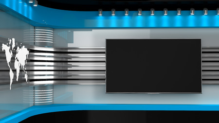 Tv Studio.Backdrop for TV shows .TV on wall. News studio. The perfect backdrop for any green screen or chroma key video or photo production. 3D rendering.
