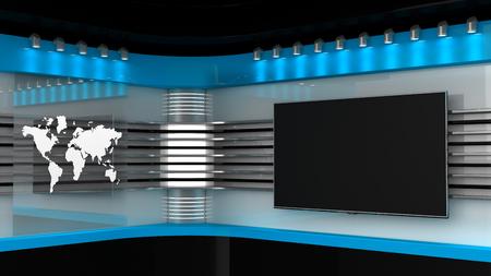 Tv-studio. Achtergrond voor tv-programma's .TV op de muur. Nieuws studio. De perfecte achtergrond voor elk groen scherm of chromasleutelvideo of fotoproductie. 3D-rendering.