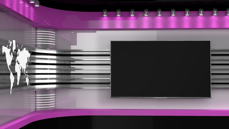 Tv Studio. Pink  studio. Backdrop for TV shows .TV on wall. News studio. The perfect backdrop for any green screen or chroma key video or photo production. 3D rendering. Stock Photo