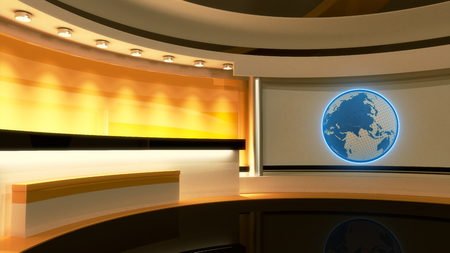 Tv Studio. News studio. Yellow studio. The perfect backdrop for any green screen or chroma key video or photo production. 3D rendering