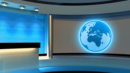 Tv Studio. News studio. Blue studio. The perfect backdrop for any green screen or chroma key video or photo production. 3D rendering
