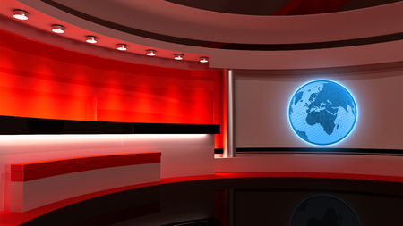Tv Studio. News studio. Red studio. The perfect backdrop for any green screen or chroma key video or photo production. 3D rendering Stock Photo