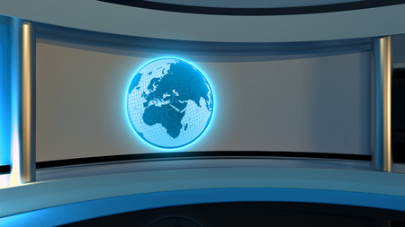 Tv Studio. News studio. Blue studio. The perfect backdrop for any green screen or chroma key video or photo production. 3D rendering Stock Photo - 76056007