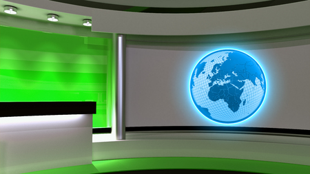 Tv Studio. News studio. Green studio. The perfect backdrop for any green screen or chroma key video or photo production. 3D rendering