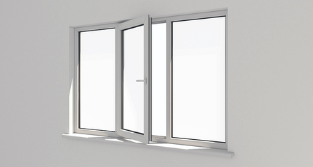Window. Wall.White wall . Aluminum window. White window. Pvc window. 3d. 3D render.