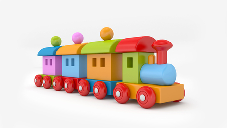 Toy train. Colorfull toy train. 3D rendering