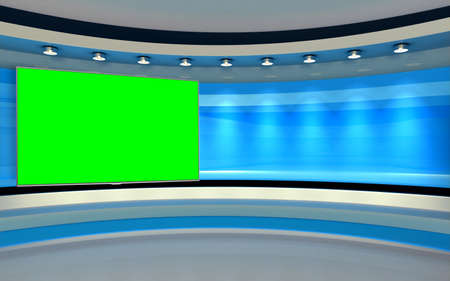 Studio The perfect backdrop for any green screen or chroma key video production, and design. 3d rendering Banque d'images