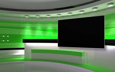 Green Studio. Green wall with light. Green background. Green back drop. 3d rendering Standard-Bild