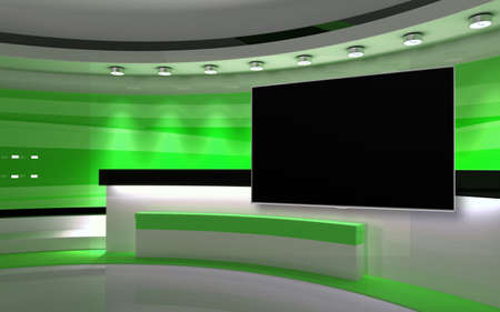 Green Studio. Green wall with light. Green background. Green back drop. 3d rendering Imagens
