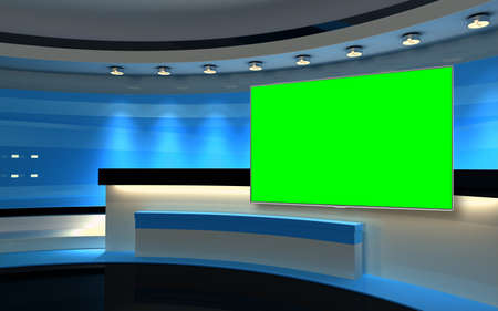 Studio The perfect backdrop for any green screen or chroma key video production, and design. 3d rendering Banco de Imagens