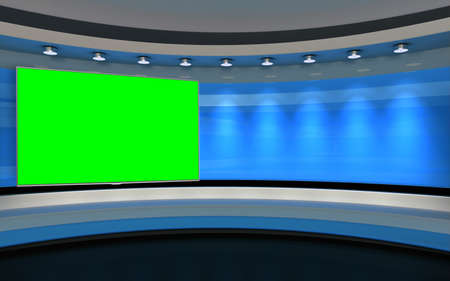 Studio The perfect backdrop for any green screen or chroma key video production, and design. 3d rendering