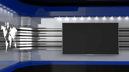 Tv Studio. Blue studio. Backdrop for TV shows. TV on wall. News studio. The perfect backdrop for any green screen or chroma key video or photo production. 3D rendering. Standard-Bild