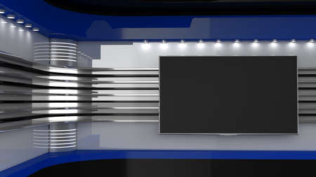 Tv Studio. Blue studio. Backdrop for TV shows. TV on wall. News studio. The perfect backdrop for any green screen or chroma key video or photo production. 3D rendering. Imagens