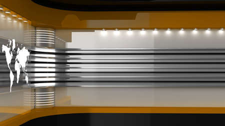 Tv Studio. Backdrop for TV shows. News studio. The perfect backdrop for any green screen or chroma key video or photo production. 3D rendering.