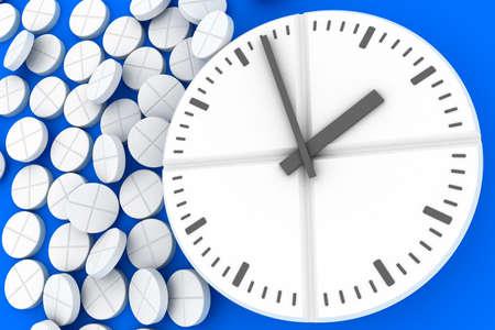 Clock pills. Pill tablet clock. Pill time. 3D. 3D rendering Zdjęcie Seryjne