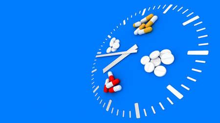 Clock pills. Pill tablet clock. Pill time. Medication Schedule. Blue background. 3D. 3D rendering