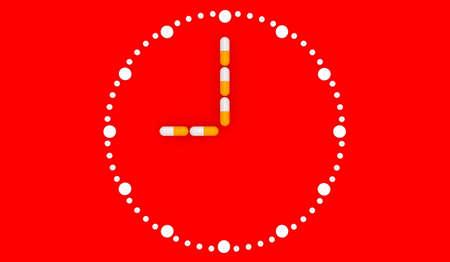 Clock pills. Pill tablet clock. Pill time. Medication Schedule. Red background. 3D. 3D rendering Zdjęcie Seryjne