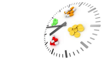Clock pills. Pill tablet clock. Pill time. Medication Schedule. 3D. 3D rendering