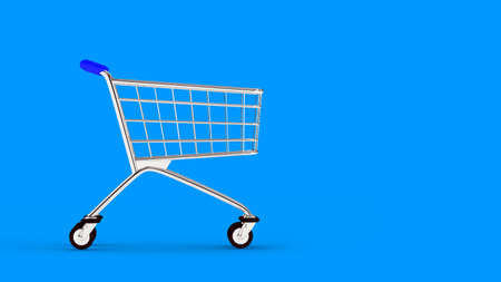 Cart. Empty market cart. Blue background. 3D. 3D rendering. Isolate market cart.