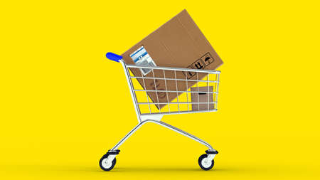 Box in market cart. Gifts in cart. Yellow background. 3D. 3D rendering. Isolate market cart.