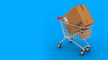 Box in market cart. Gifts in cart. Blue background. 3D. 3D rendering. Isolate market cart. Zdjęcie Seryjne