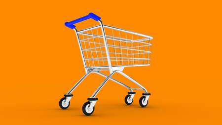 Cart. Empty market cart. Orange background. 3D. 3D rendering. Isolate market cart. Zdjęcie Seryjne