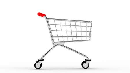 Cart. Empty market cart. White background. 3D. 3D rendering. Isolate market cart.