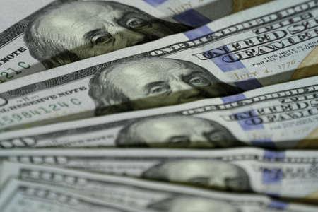 100 dollars close up. One hundred dollar banknotes Zdjęcie Seryjne