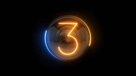 Three. Digit 3. Nixie tube indicator digit. Gas discharge indicators and lamps. 3D. 3D Rendering Archivio Fotografico