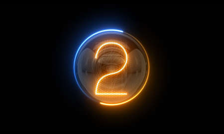 Two. Digit 2 Nixie tube indicator digit. Gas discharge indicators and lamps. 3D. 3D Rendering