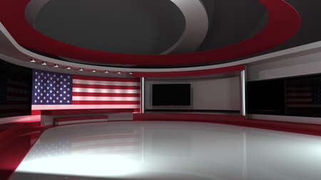 TV studio. USA flag studio. American flag background. News studio. The perfect backdrop for any green screen or chroma key video or photo production. 3d render. 3d