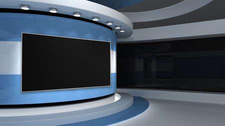 TV studio. Light blue background. Argentine flag. News studio. Background for any green screen or chroma key video production. 3d render. 3d