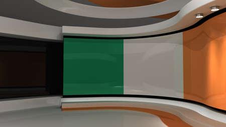 Ireland. Irish flag. TV studio. News studio. Loop animation. Background for any green screen or chroma key video production. 3d render. 3d