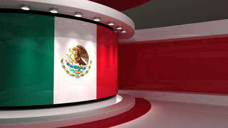 Mexico flag . Mexico flag background. TV studio. News studio. The perfect backdrop for any green screen or chroma key video or photo production. 3d render. 3d Reklamní fotografie