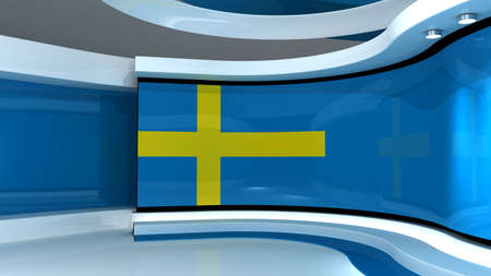 Sweed flag background. TV studio. News studio. The perfect backdrop for any green screen or chroma key video or photo production. 3d render. 3d