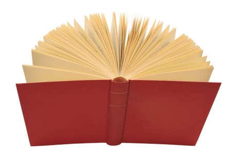 Ordinal: Offene rote Buch mit gelben Seiten, isoliert wei�em Hintergrund