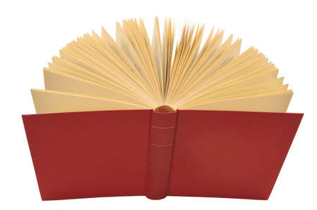 canto: Open red book with yellow pages, isolated white background